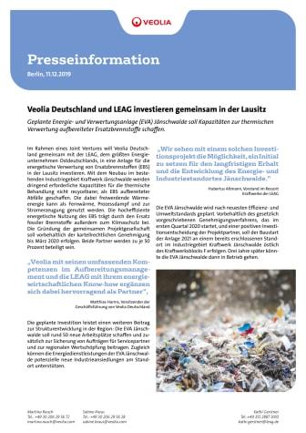 Veolia Deutschland und LEAG investieren gemeinsam in der Lausitz