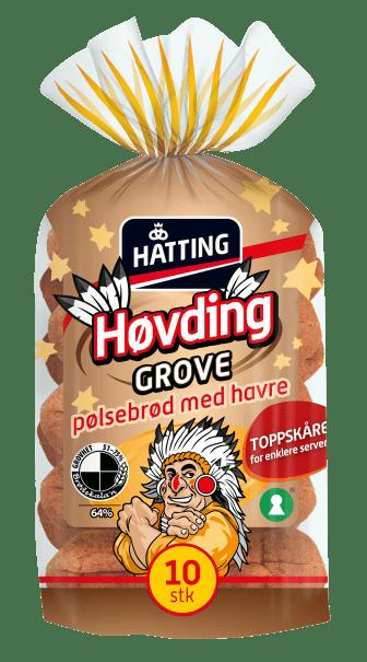 Hatting Høvding grove pølsebrød toppskåret