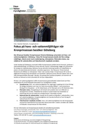 Fokus på havs- och vattenmiljöfrågor när Kronprinsessan besöker Göteborg