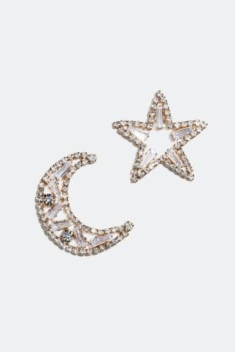 Statement-øredobber med måne og stjerne