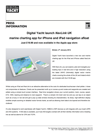 Digital Yacht launch NavLink UK marine charting app for iPhone and iPad navigation afloat