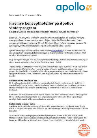 Fire nye koncepthoteller på Apollos vinterprogram