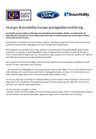 Ford ger BraunAbility Europe prestigefylld certifiering