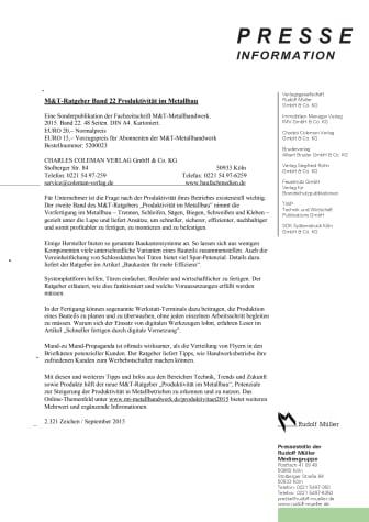 M&T-Ratgeber Produktivität im Metallbau