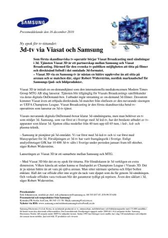3d-tv via Viasat och Samsung