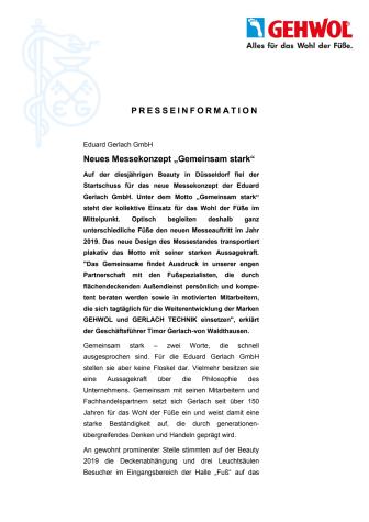 """Eduard Gerlach GmbH: Neues Messekonzept """"Gemeinsam stark"""""""
