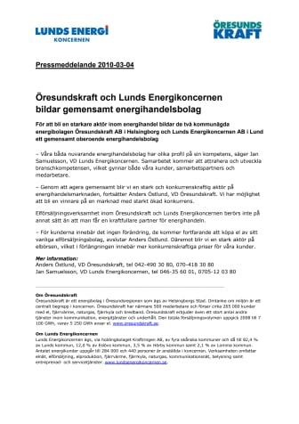 Öresundskraft och Lunds Energikoncernen bildar gemensamt energihandelsbolag