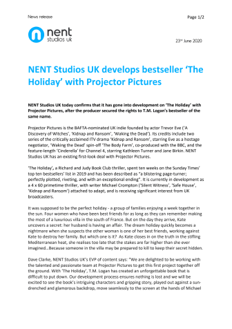 NENT Studios UK develops bestseller 'The Holiday' with Projector Pictures