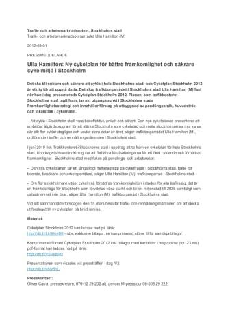 Ulla Hamilton: Ny cykelplan för bättre framkomlighet och säkrare cykelmiljö i Stockholm