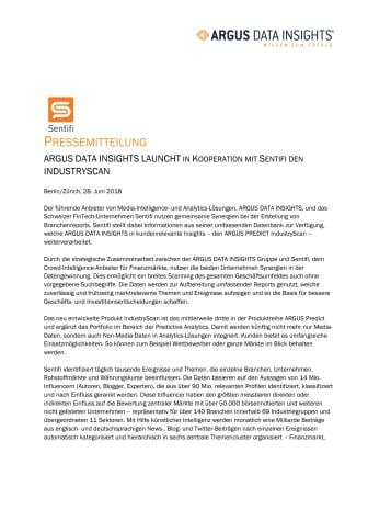 ARGUS DATA INSIGHTS LAUNCHT IN KOOPERATION MIT SENTIFI DEN INDUSTRYSCAN