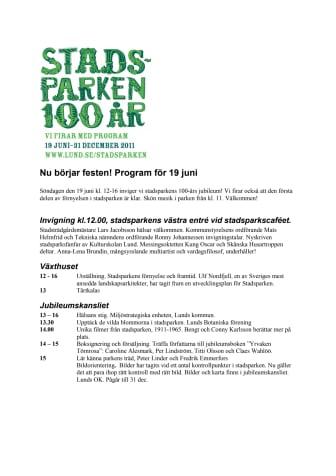 Stadsparken 100 år - program med karta för invigningen 19 juni