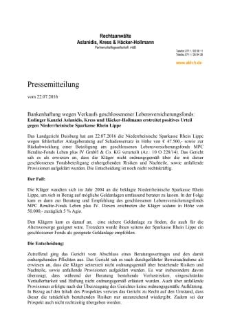 Rechtsanwälte Aslanidis, Kress und Häcker-Hollmann erstreiten positives Urteil gegen Sparkasse RheinLippe