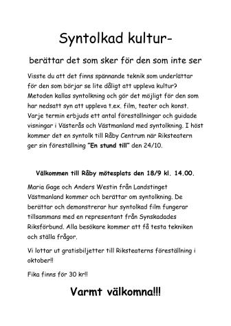 Information om syntolksmöte på Råby 18 september
