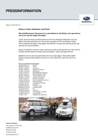 Subaru ordnar skidtester med Head