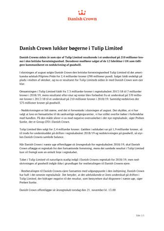 Danish Crown lukker bøgerne i Tulip Limited