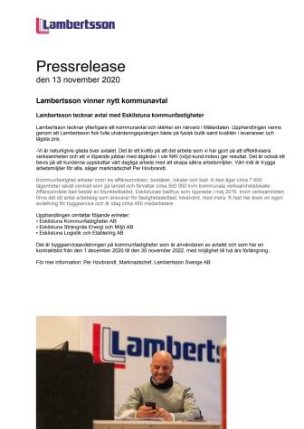 Lambertsson vinner nytt kommunavtal