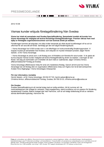 Vismas kunder erbjuds företagsförsäkring från Svedea