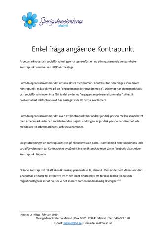 Enkel fråga: Kommer Malmö stad avsluta samarbetet med Kontrapunkt?