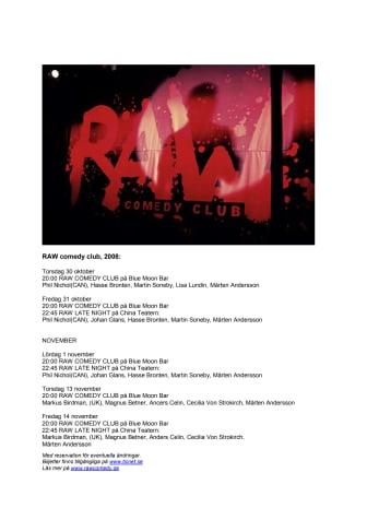 RAW Comedy Club Hösten 2008