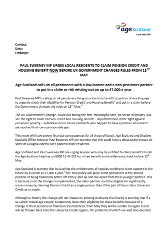 Age Scotland and Paul Sweeney MP urges local residents to claim Pension Credit and Housing Benefit now before UK Government changes rules
