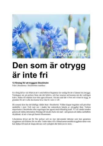 13 förslag för ett tryggare Stockholm