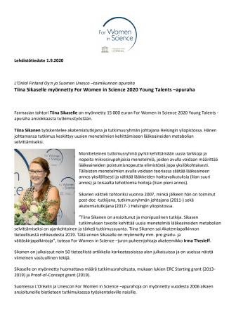 Tiina Sikanen For Women in Science Young Talents -apurahan saaja.pdf