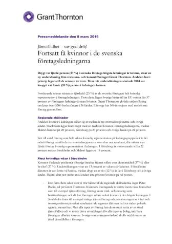 Fortsatt få kvinnor i de svenska företagsledningarna