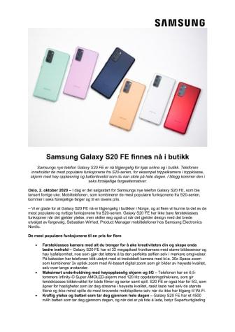 Samsung Galaxy S20 FE finnes nå i butikk