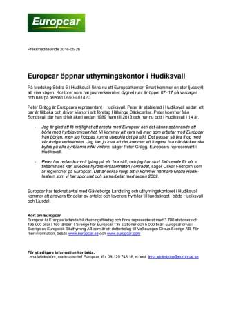 Europcar öppnar uthyrningskontor i Hudiksvall