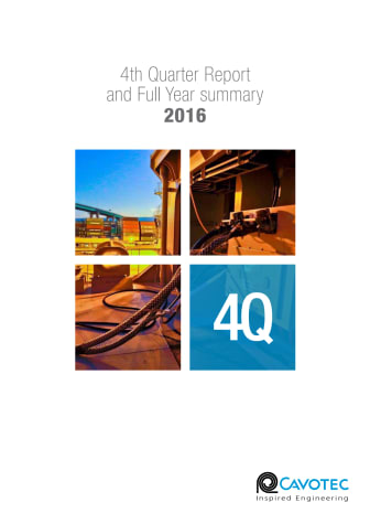 Cavotec 4Q16 Report and full year 2016 summary