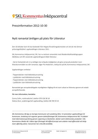 Nytt ramavtal äntligen på plats för Litteratur