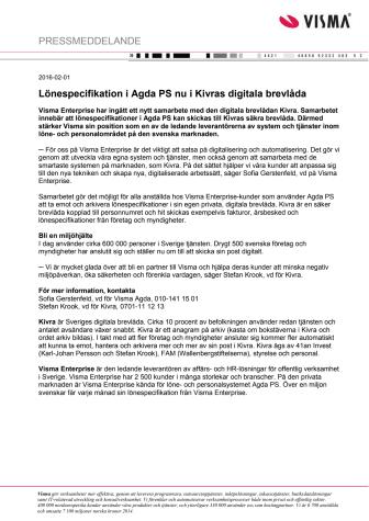 Lönespecifikation i Agda PS nu i Kivras digitala brevlåda