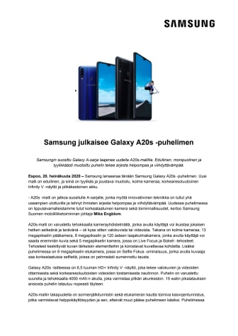 Samsung julkaisee Galaxy A20s -puhelimen