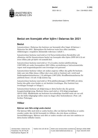 Beslut om licensjakt efter björn 2021 i Dalarnas län.pdf