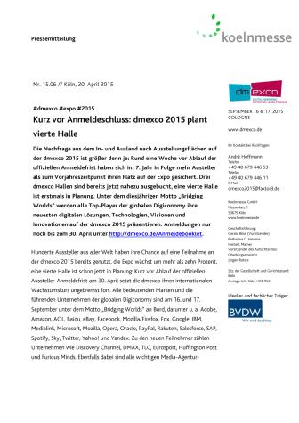 Kurz vor Anmeldeschluss: dmexco 2015 plant vierte Halle