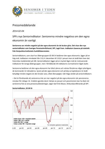 SPFs nya Seniorindikator: Seniorerna mindre negativa om den egna ekonomin än vanligt