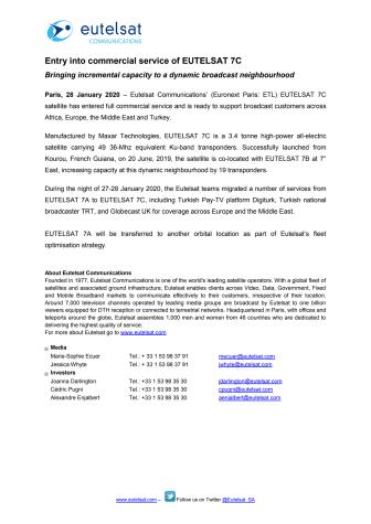 Entry into commercial service of EUTELSAT 7C