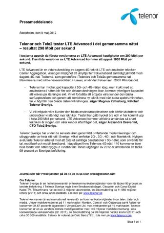Telenor och Tele2 testar LTE Advanced i det gemensamma nätet
