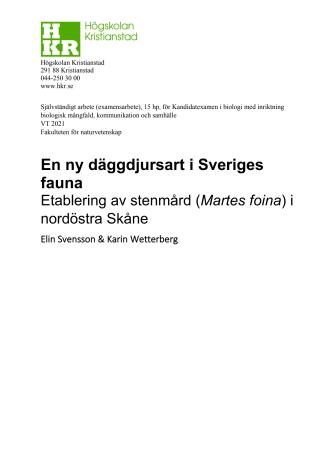 Ny däggdjursart i Sveriges fauna