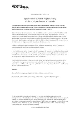 Epishine och Swedish Algae Factory tilldelas stipendier om 400 000 kr
