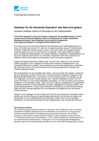 Glasfaser für die Gemeinde Papendorf: Das Netz wird gebaut