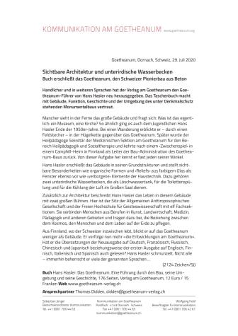 Sichtbare Architektur und unterirdische Wasserbecken: Buch erschließt das Goetheanum, den Schweizer Pionierbau aus Beton
