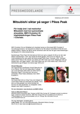 Mitsubishi siktar på seger i Pikes Peak