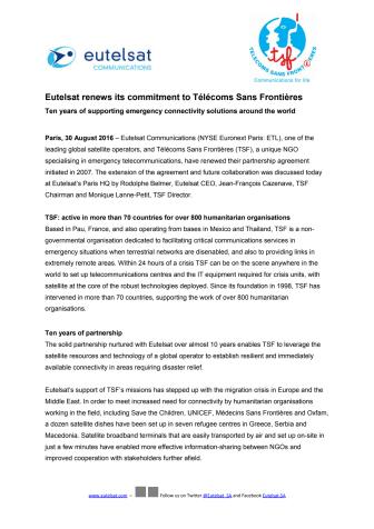 Eutelsat renews its commitment to Télécoms Sans Frontières