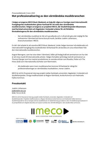 Mot professionalisering av den värmländska musikbranschen