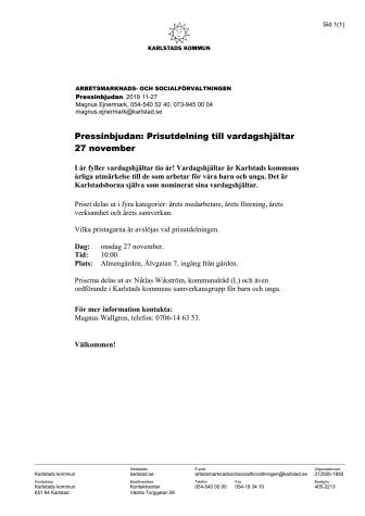 Pressinbjudan: Prisutdelning till vardagshjältar 27 november