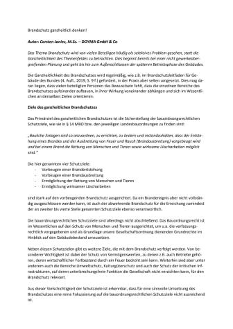 DOYMA-Fachartikel: Brandschutz ganzheitlich denken!
