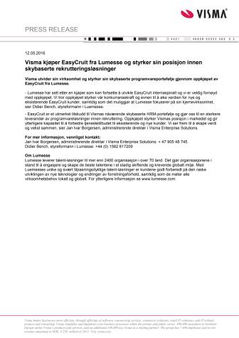 Visma kjøper EasyCruit fra Lumesse og styrker sin posisjon innen skybaserte rekrutteringsløsninger