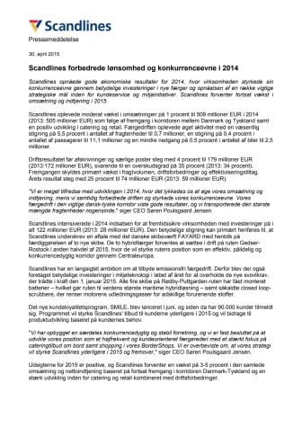 Scandlines forbedrede lønsomhed og konkurrenceevne i 2014