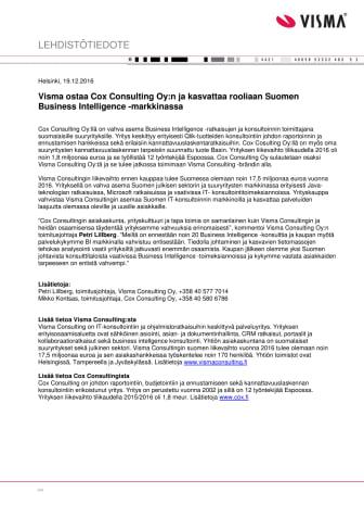Visma ostaa Cox Consulting Oy:n ja kasvattaa rooliaan Suomen Business Intelligence -markkinassa